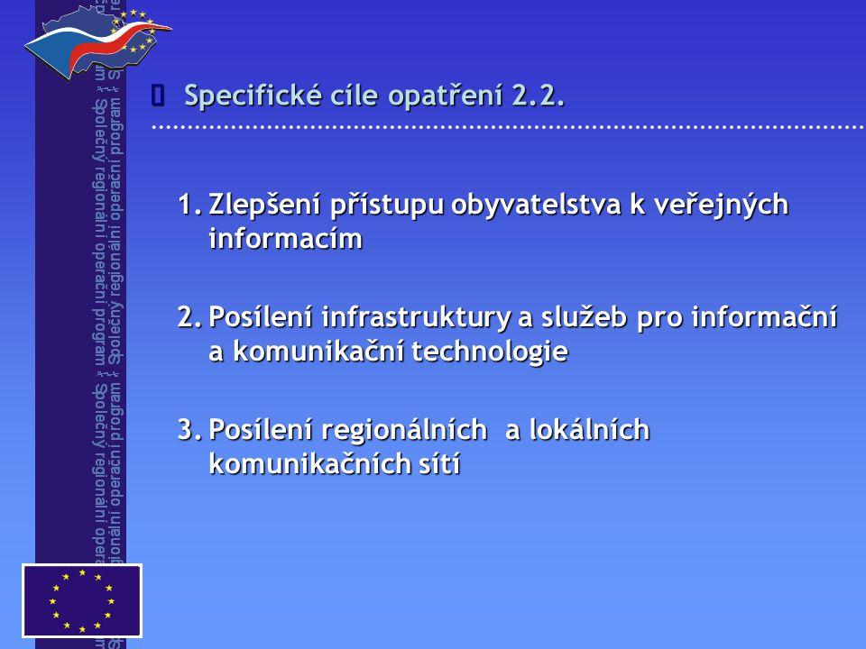 1.Zlepšení přístupu obyvatelstva k veřejných informacím 2.Posílení infrastruktury a služeb pro informační a komunikační technologie 3.Posílení regionálních a lokálních komunikačních sítí Specifické cíle opatření 2.2.