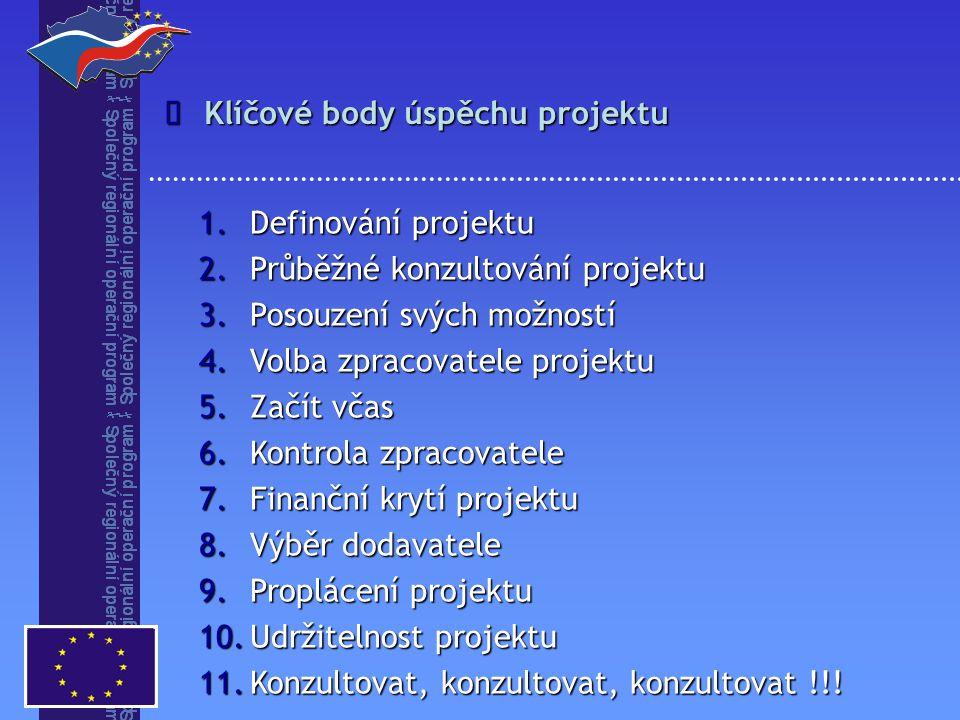 Klíčové body úspěchu projektu  1.Definování projektu 2.Průběžné konzultování projektu 3.Posouzení svých možností 4.Volba zpracovatele projektu 5.Začít včas 6.Kontrola zpracovatele 7.Finanční krytí projektu 8.Výběr dodavatele 9.Proplácení projektu 10.Udržitelnost projektu 11.Konzultovat, konzultovat, konzultovat !!!