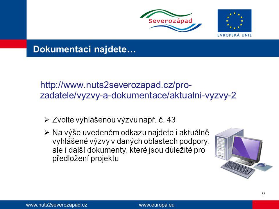 Dokumentaci najdete… http://www.nuts2severozapad.cz/pro- zadatele/vyzvy-a-dokumentace/aktualni-vyzvy-2  Zvolte vyhlášenou výzvu např.