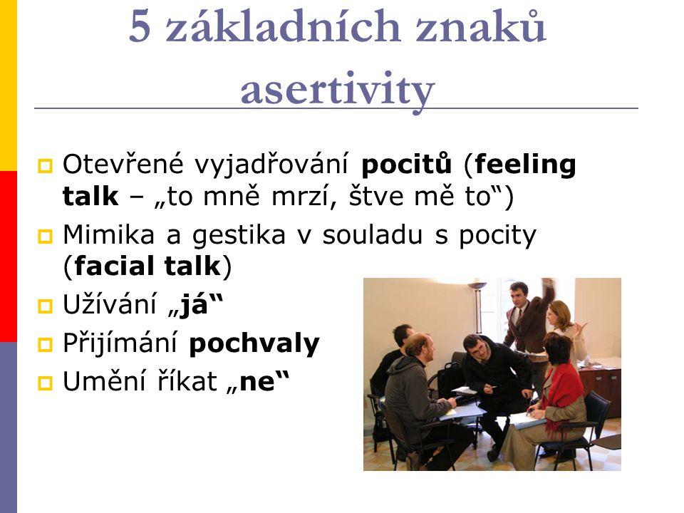 """5 základních znaků asertivity  Otevřené vyjadřování pocitů (feeling talk – """"to mně mrzí, štve mě to"""")  Mimika a gestika v souladu s pocity (facial t"""