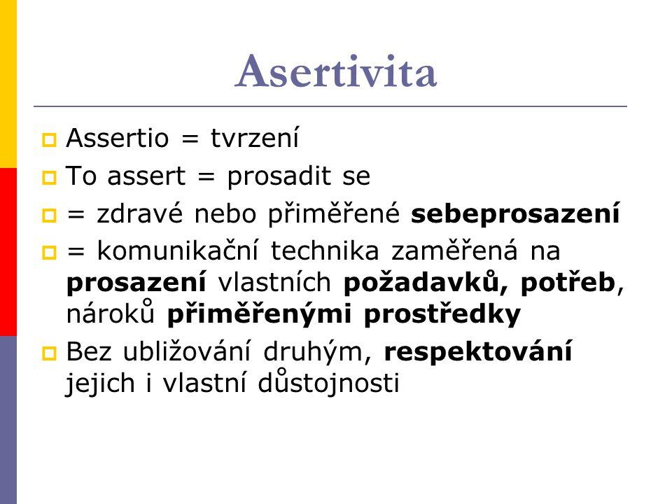 Asertivita  Assertio = tvrzení  To assert = prosadit se  = zdravé nebo přiměřené sebeprosazení  = komunikační technika zaměřená na prosazení vlast