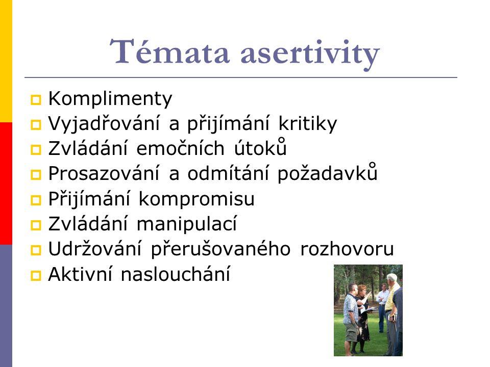 """5 základních znaků asertivity  Otevřené vyjadřování pocitů (feeling talk – """"to mně mrzí, štve mě to )  Mimika a gestika v souladu s pocity (facial talk)  Užívání """"já  Přijímání pochvaly  Umění říkat """"ne"""