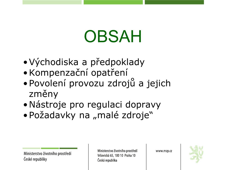 """OBSAH Východiska a předpoklady Kompenzační opatření Povolení provozu zdrojů a jejich změny Nástroje pro regulaci dopravy Požadavky na """"malé zdroje"""