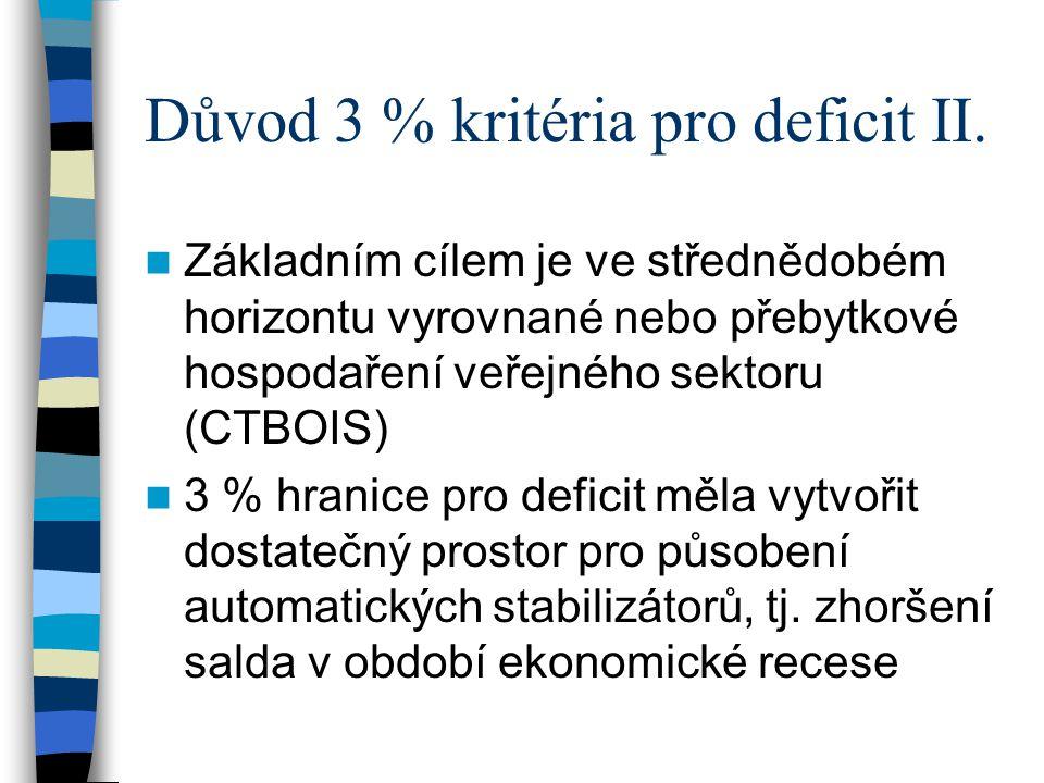 Důvod 3 % kritéria pro deficit II.