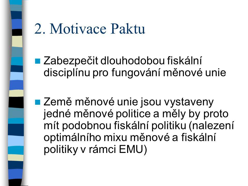 2. Motivace Paktu Zabezpečit dlouhodobou fiskální disciplínu pro fungování měnové unie Země měnové unie jsou vystaveny jedné měnové politice a měly by