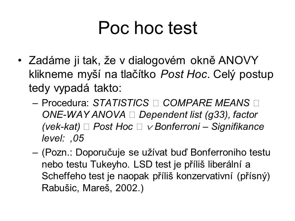 Poc hoc test Zadáme ji tak, že v dialogovém okně ANOVY klikneme myší na tlačítko Post Hoc. Celý postup tedy vypadá takto: –Procedura: STATISTICS COMPA