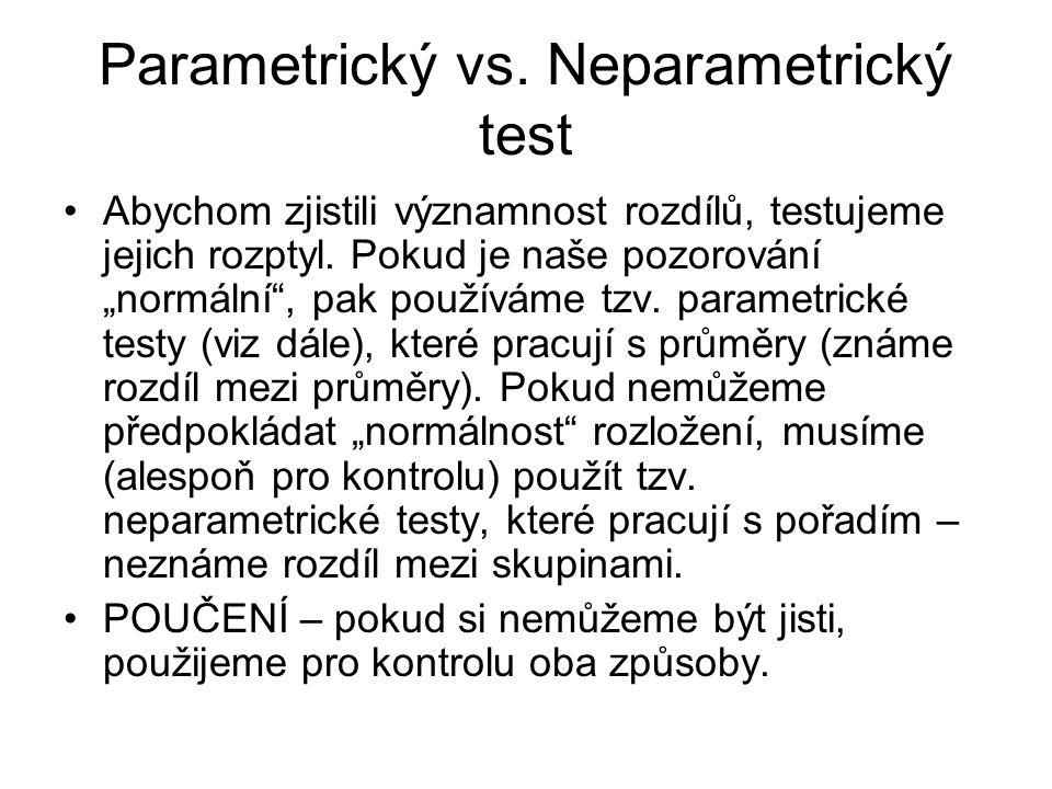 """Parametrický vs. Neparametrický test Abychom zjistili významnost rozdílů, testujeme jejich rozptyl. Pokud je naše pozorování """"normální"""", pak používáme"""