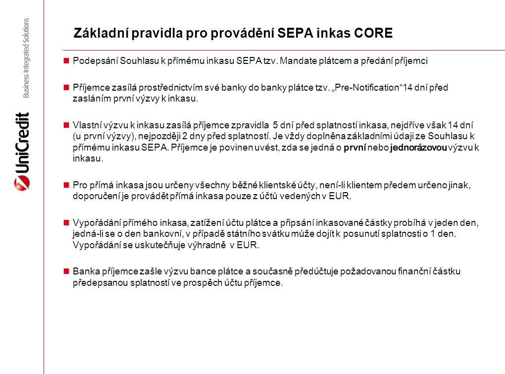 Základní pravidla pro provádění SEPA inkas CORE Podepsání Souhlasu k přímému inkasu SEPA tzv. Mandate plátcem a předání příjemci Příjemce zasílá prost