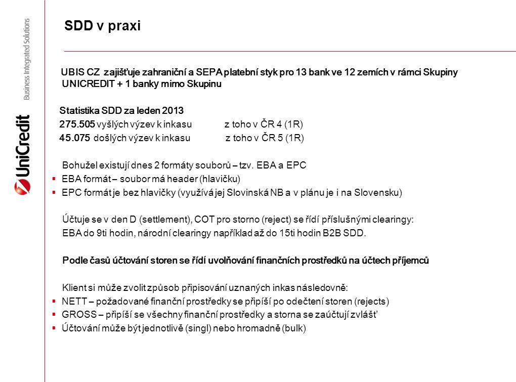 SDD v praxi UBIS CZ zajišťuje zahraniční a SEPA platební styk pro 13 bank ve 12 zemích v rámci Skupiny UNICREDIT + 1 bank y mimo Skupinu Statistika SD