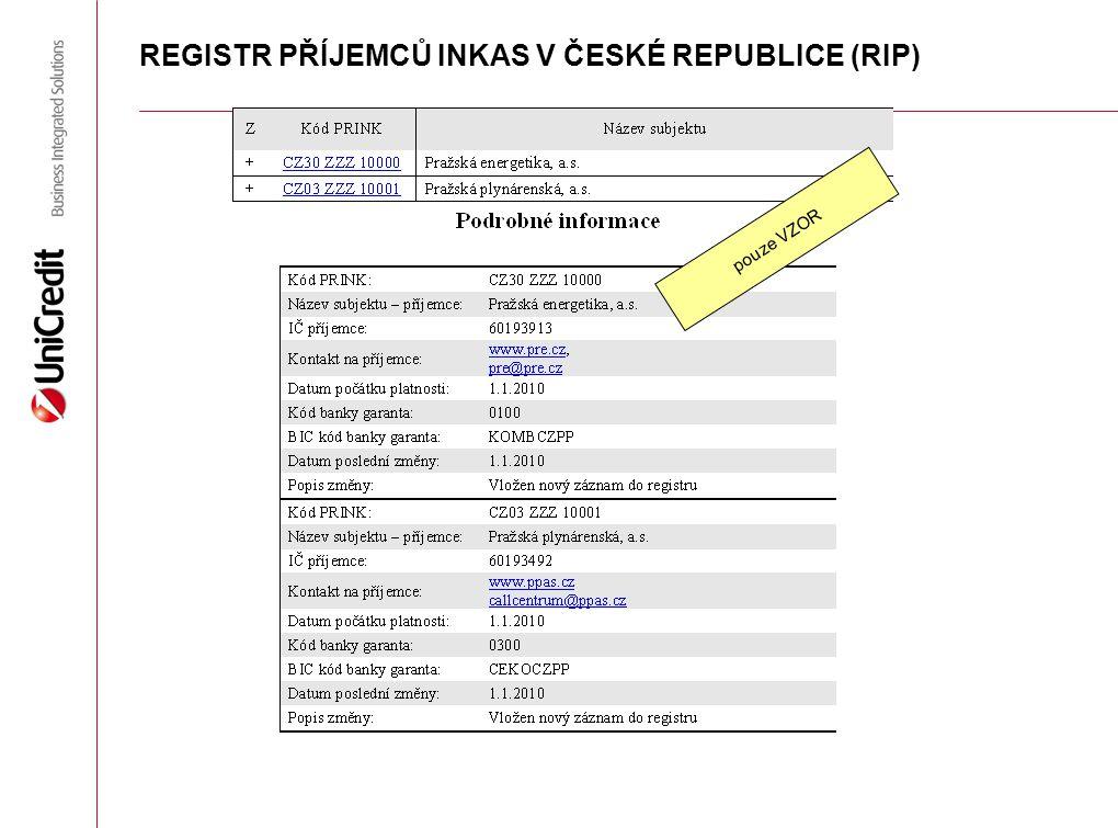 REGISTR PŘÍJEMCŮ INKAS V ČESKÉ REPUBLICE (RIP) pouze VZOR