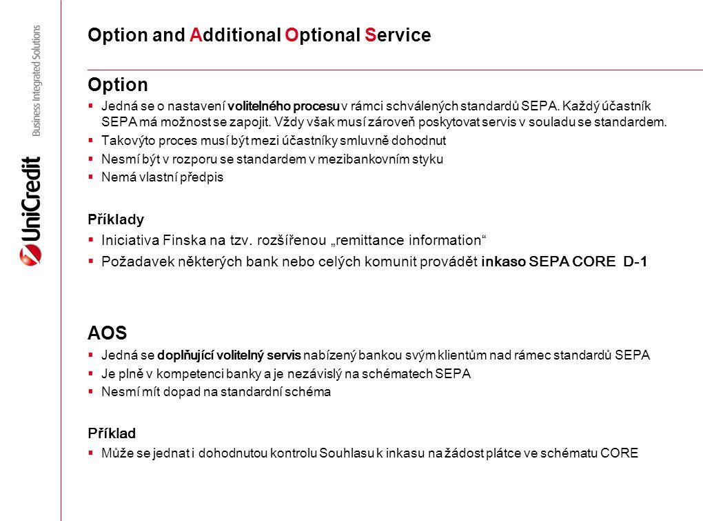 Option and Additional Optional Service Option  Jedná se o nastavení volitelného procesu v rámci schválených standardů SEPA. Každý účastník SEPA má mo