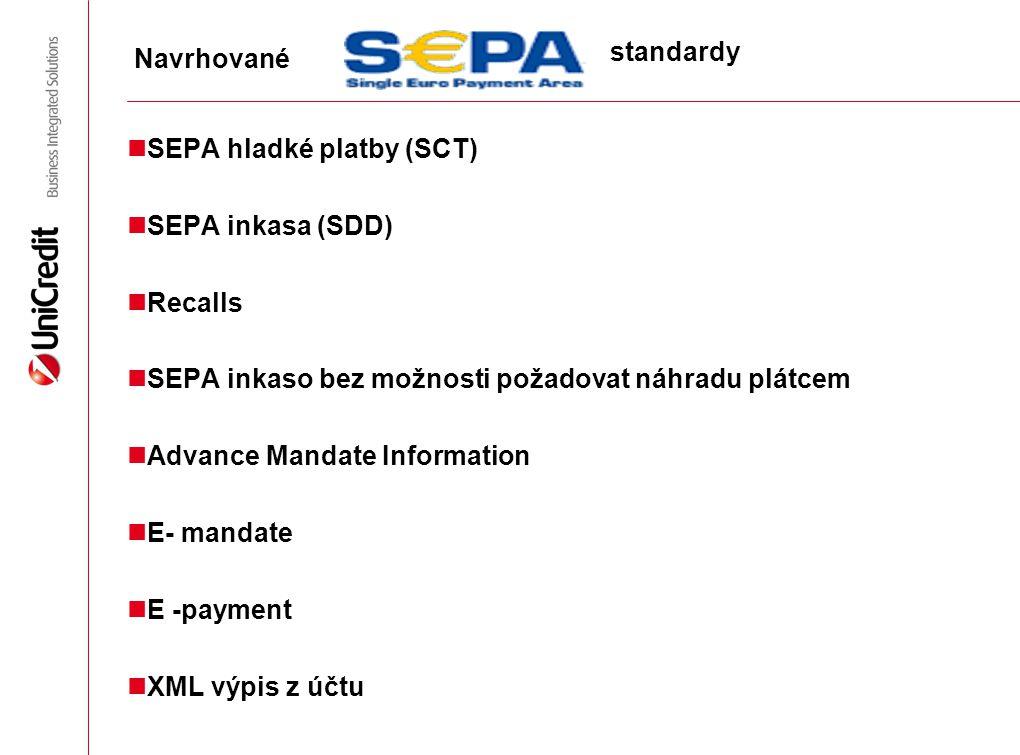 SEPA hladké platby (SCT) SEPA inkasa (SDD) Recalls SEPA inkaso bez možnosti požadovat náhradu plátcem Advance Mandate Information E- mandate E -paymen