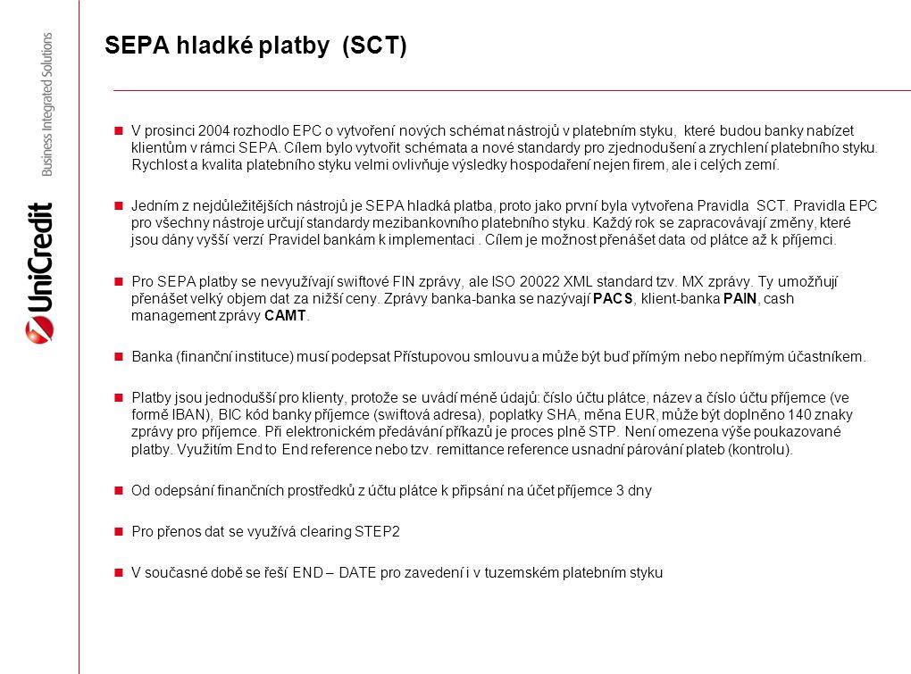 SEPA hladké platby (SCT) V prosinci 2004 rozhodlo EPC o vytvoření nových schémat nástrojů v platebním styku, které budou banky nabízet klientům v rámc