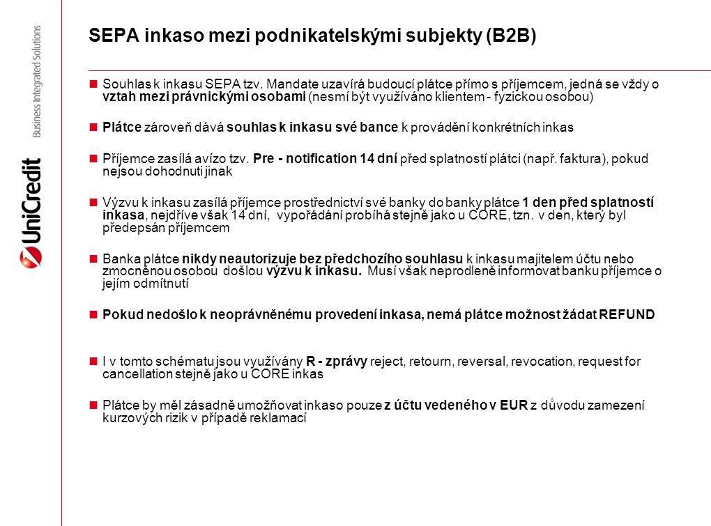 """Schéma SEPA podnikatelského inkasa (B2B) Banka plátce Banka příjemce Automatické zúčtovací centrum (CSM) Plátce Příjemce Výzva k inkasu """"D-1 D-14, není-li dohodnuto jinak (faktura, účet atd.) Připsání valutou """"D Banka zatíží účet valutou """"D Úhrada v/p účtu banky příjemce valutou """"D Výzva k inkasu """"D-1 Připsání valutou """"D"""