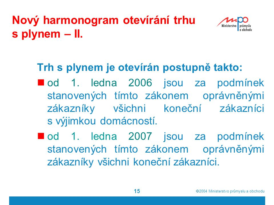  2004  Ministerstvo průmyslu a obchodu 15 Nový harmonogram otevírání trhu s plynem – II.