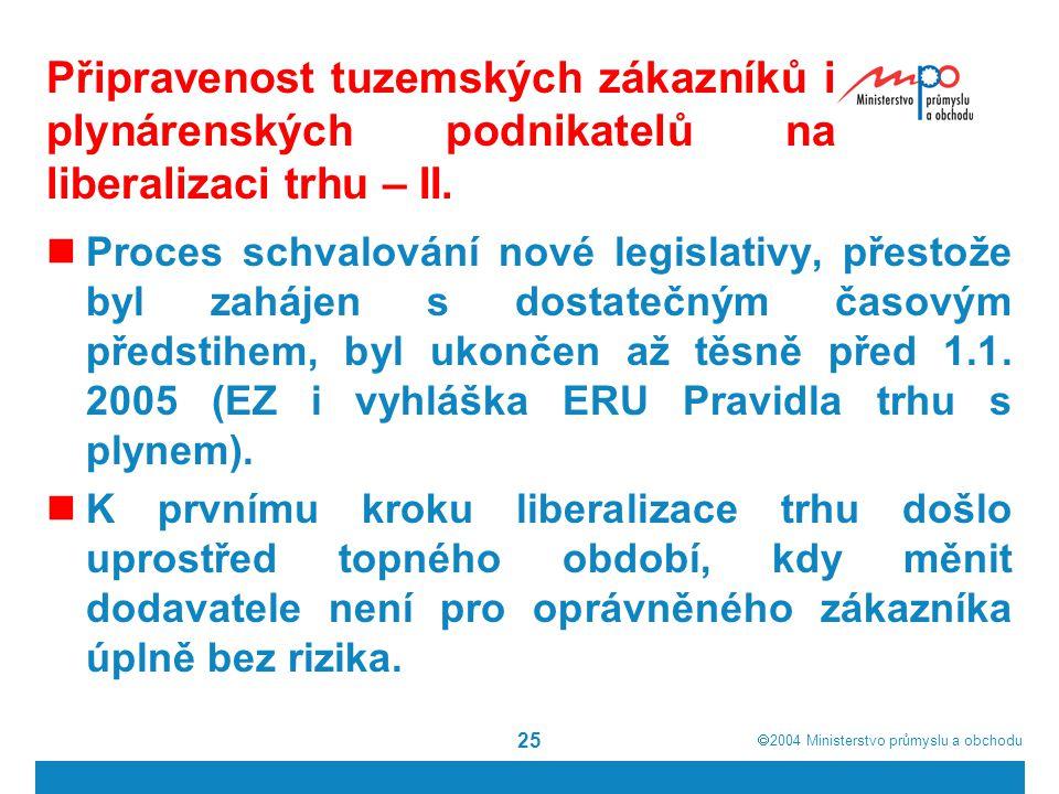  2004  Ministerstvo průmyslu a obchodu 25 Připravenost tuzemských zákazníků i plynárenských podnikatelů na liberalizaci trhu – II.