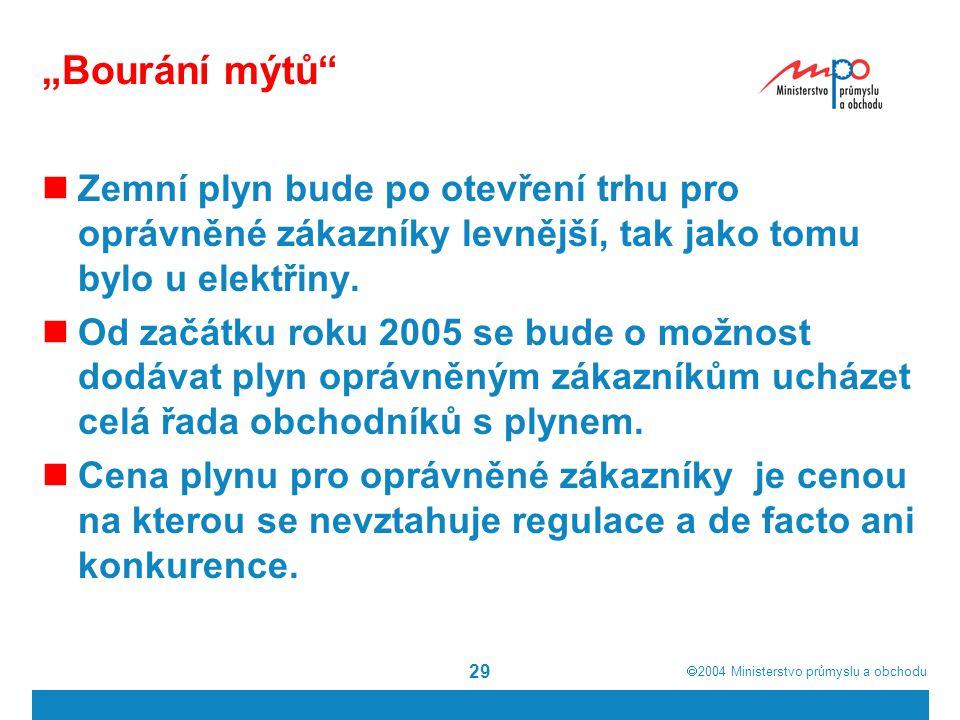 """ 2004  Ministerstvo průmyslu a obchodu 29 """"Bourání mýtů Zemní plyn bude po otevření trhu pro oprávněné zákazníky levnější, tak jako tomu bylo u elektřiny."""