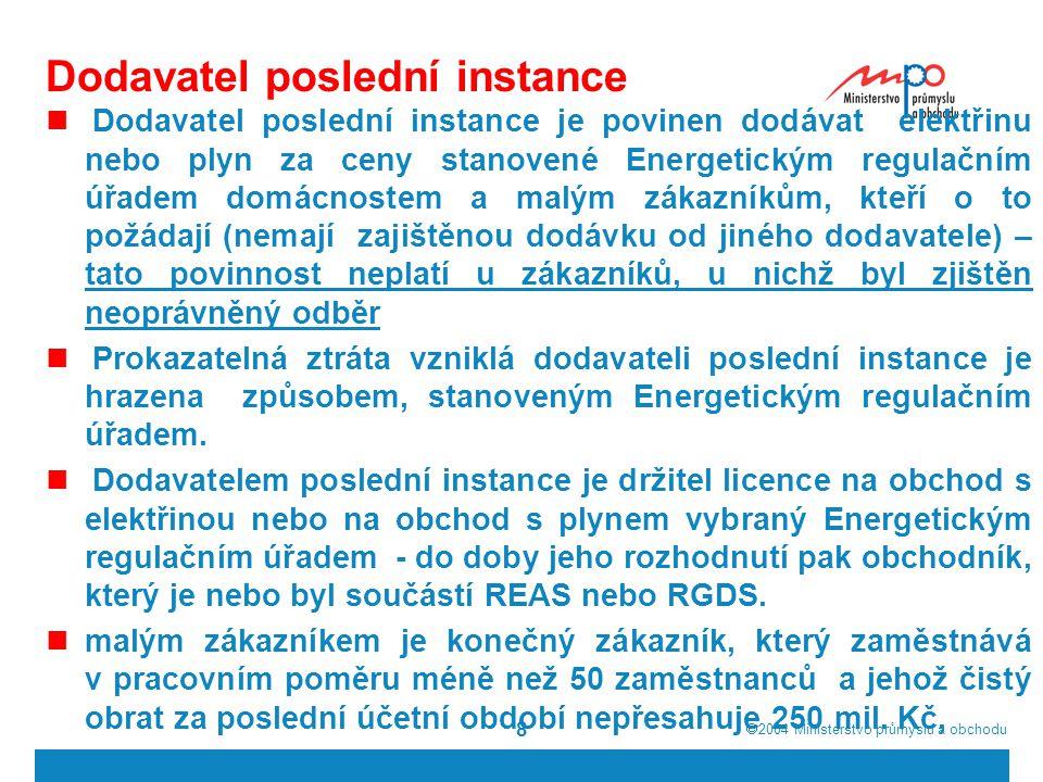  2004  Ministerstvo průmyslu a obchodu 9 Dodavatel poslední instance – II.