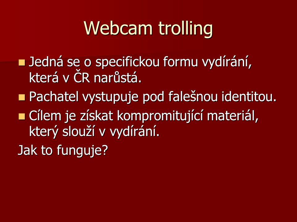 Webcam trolling Jedná se o specifickou formu vydírání, která v ČR narůstá. Jedná se o specifickou formu vydírání, která v ČR narůstá. Pachatel vystupu
