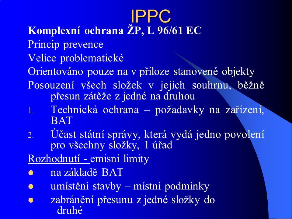 IPPC Komplexní ochrana ŽP, L 96/61 EC Princip prevence Velice problematické Orientováno pouze na v příloze stanovené objekty Posouzení všech složek v