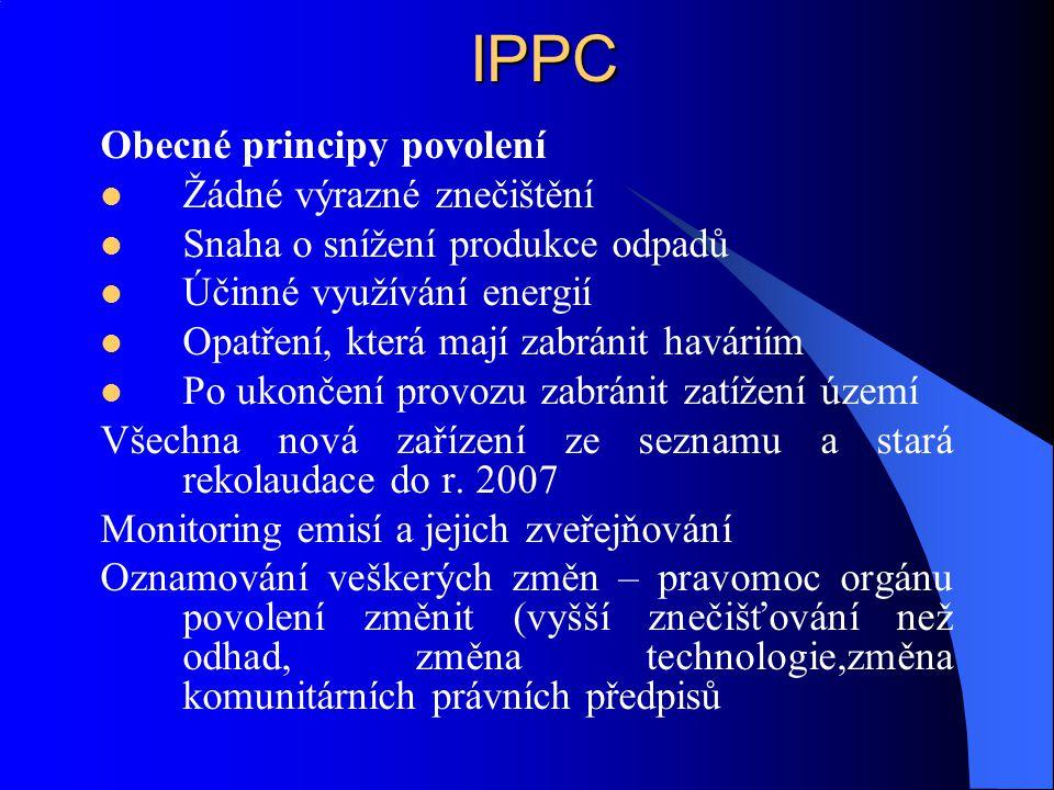 IPPC Obecné principy povolení Žádné výrazné znečištění Snaha o snížení produkce odpadů Účinné využívání energií Opatření, která mají zabránit haváriím