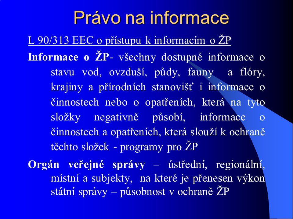 Právo na informace L 90/313 EEC o přístupu k informacím o ŽP Informace o ŽP- všechny dostupné informace o stavu vod, ovzduší, půdy, fauny a flóry, kra