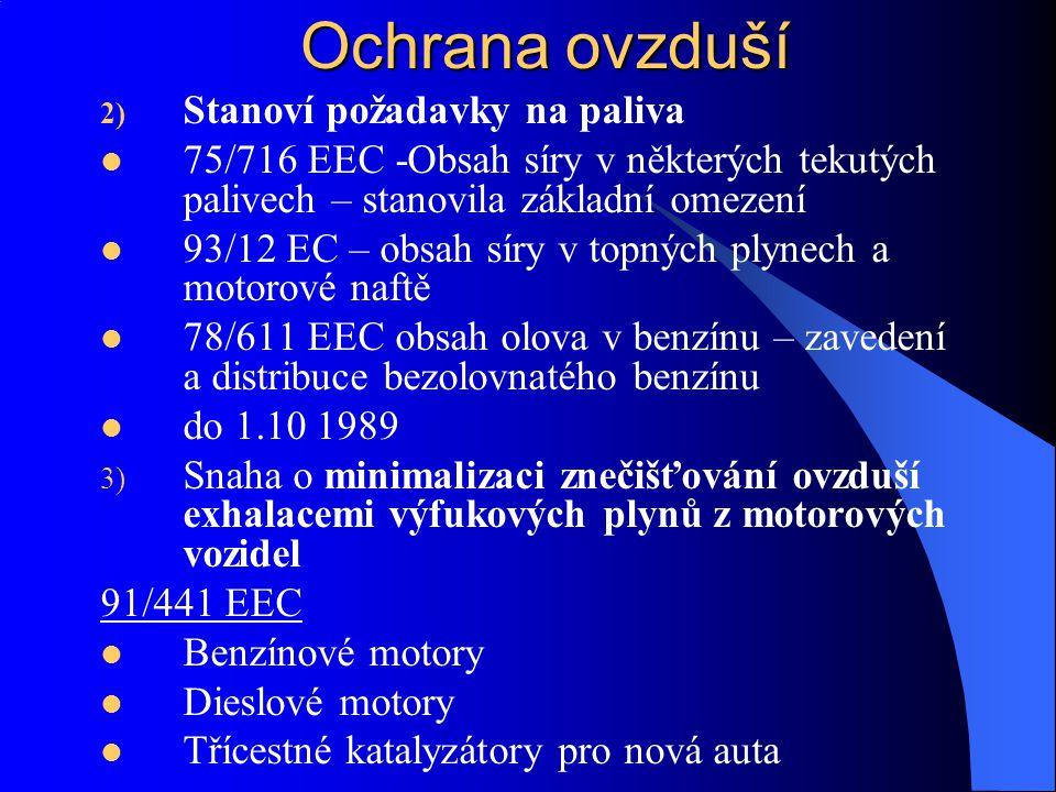 Ochrana ovzduší 2) Stanoví požadavky na paliva 75/716 EEC -Obsah síry v některých tekutých palivech – stanovila základní omezení 93/12 EC – obsah síry