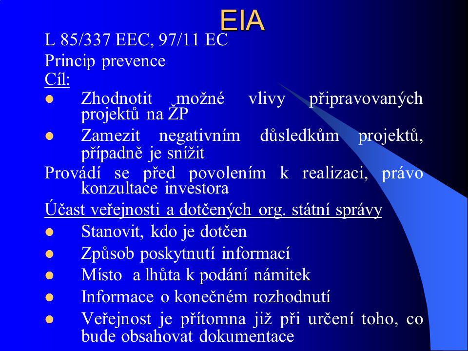 EIA L 85/337 EEC, 97/11 EC Princip prevence Cíl: Zhodnotit možné vlivy připravovaných projektů na ŽP Zamezit negativním důsledkům projektů, případně j
