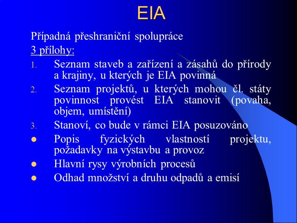 EIA Případná přeshraniční spolupráce 3 přílohy: 1. Seznam staveb a zařízení a zásahů do přírody a krajiny, u kterých je EIA povinná 2. Seznam projektů