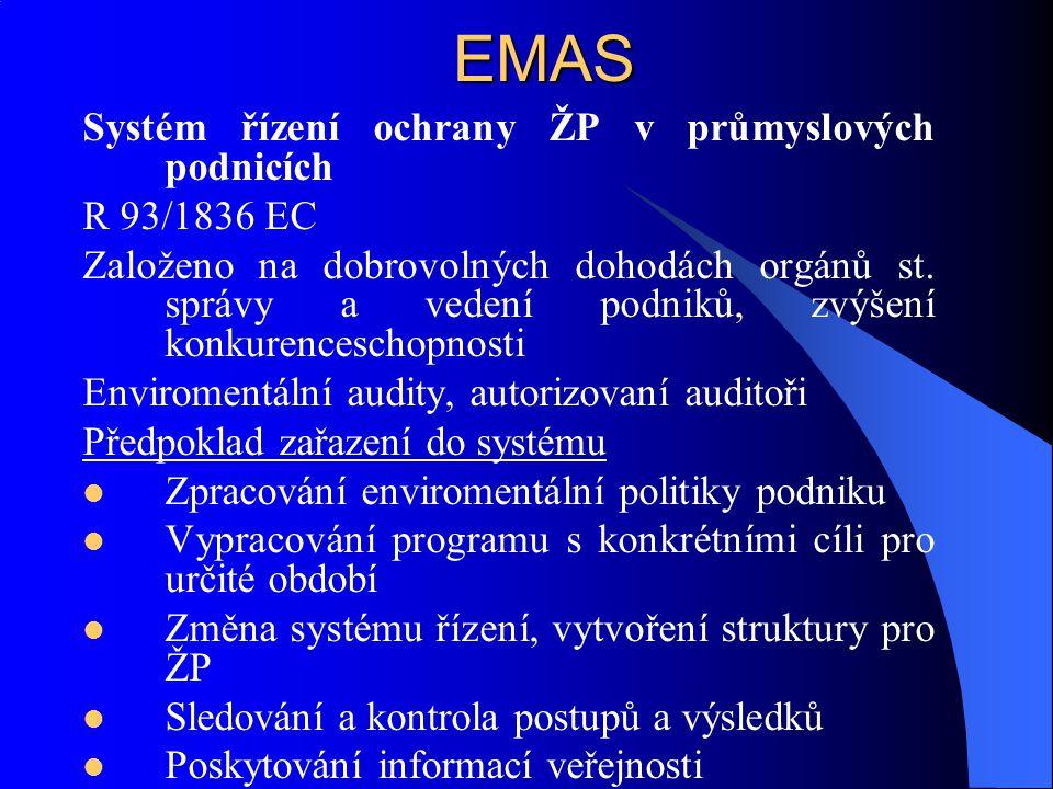 EMAS Systém řízení ochrany ŽP v průmyslových podnicích R 93/1836 EC Založeno na dobrovolných dohodách orgánů st. správy a vedení podniků, zvýšení konk