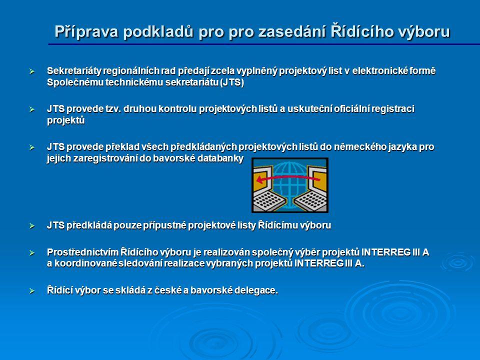  Sekretariáty regionálních rad předají zcela vyplněný projektový list v elektronické formě Společnému technickému sekretariátu (JTS)  JTS provede tzv.