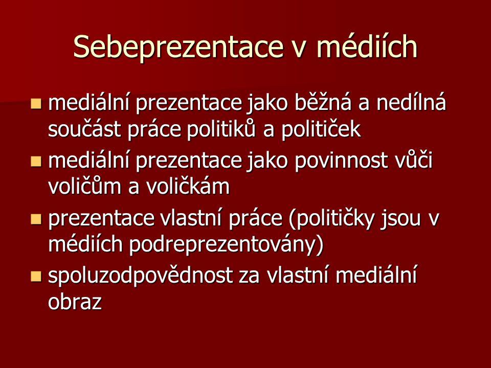 mediální prezentace jako běžná a nedílná součást práce politiků a političek mediální prezentace jako běžná a nedílná součást práce politiků a političe