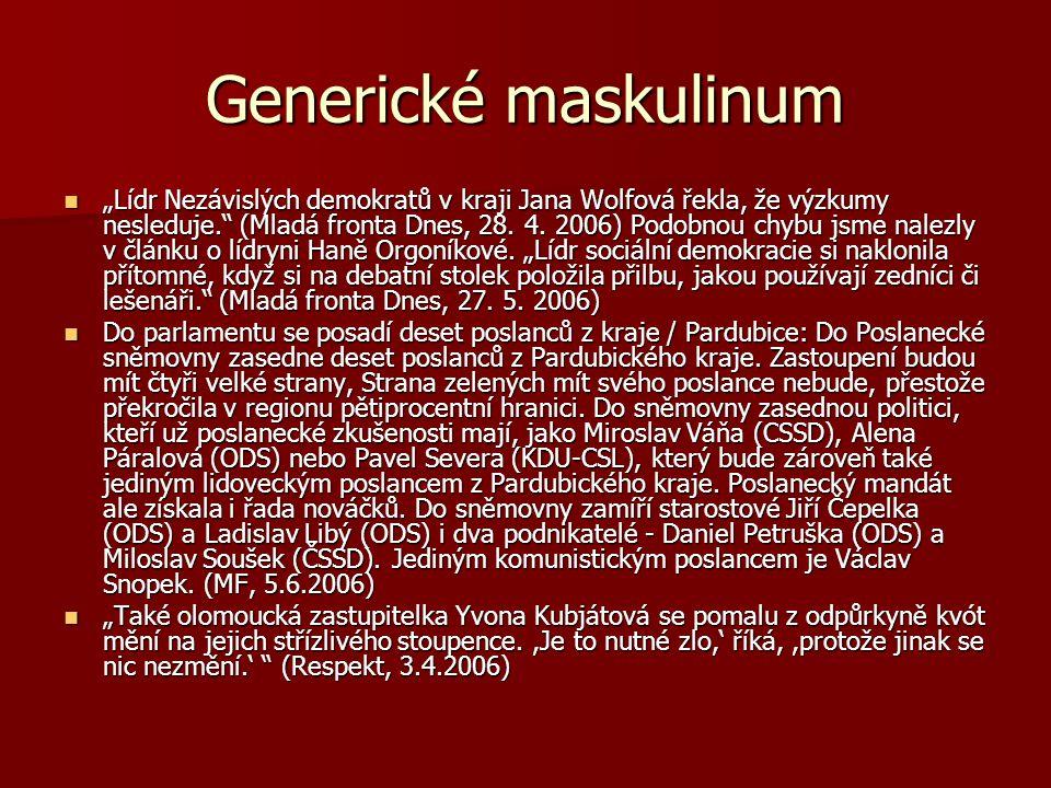 """Generické maskulinum """"Lídr Nezávislých demokratů v kraji Jana Wolfová řekla, že výzkumy nesleduje."""" (Mladá fronta Dnes, 28. 4. 2006) Podobnou chybu js"""