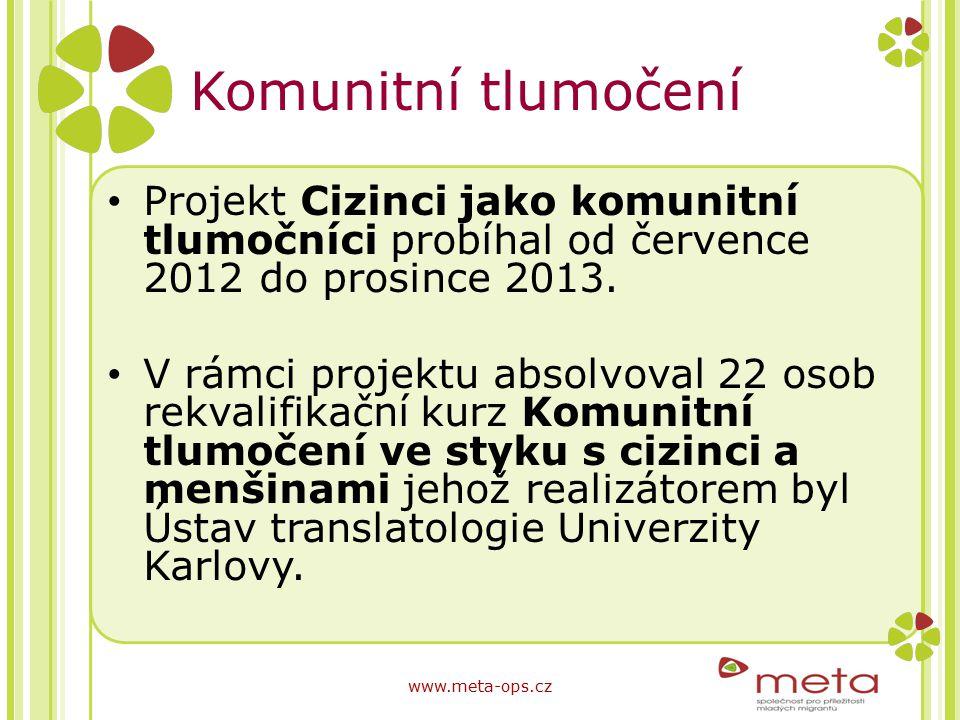 Komunitní tlumočení Projekt Cizinci jako komunitní tlumočníci probíhal od července 2012 do prosince 2013. V rámci projektu absolvoval 22 osob rekvalif