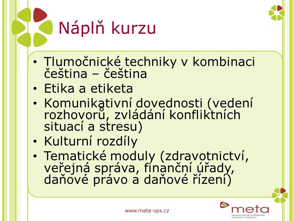 Náplň kurzu Tlumočnické techniky v kombinaci čeština – čeština Etika a etiketa Komunikativní dovednosti (vedení rozhovorů, zvládání konfliktních situa