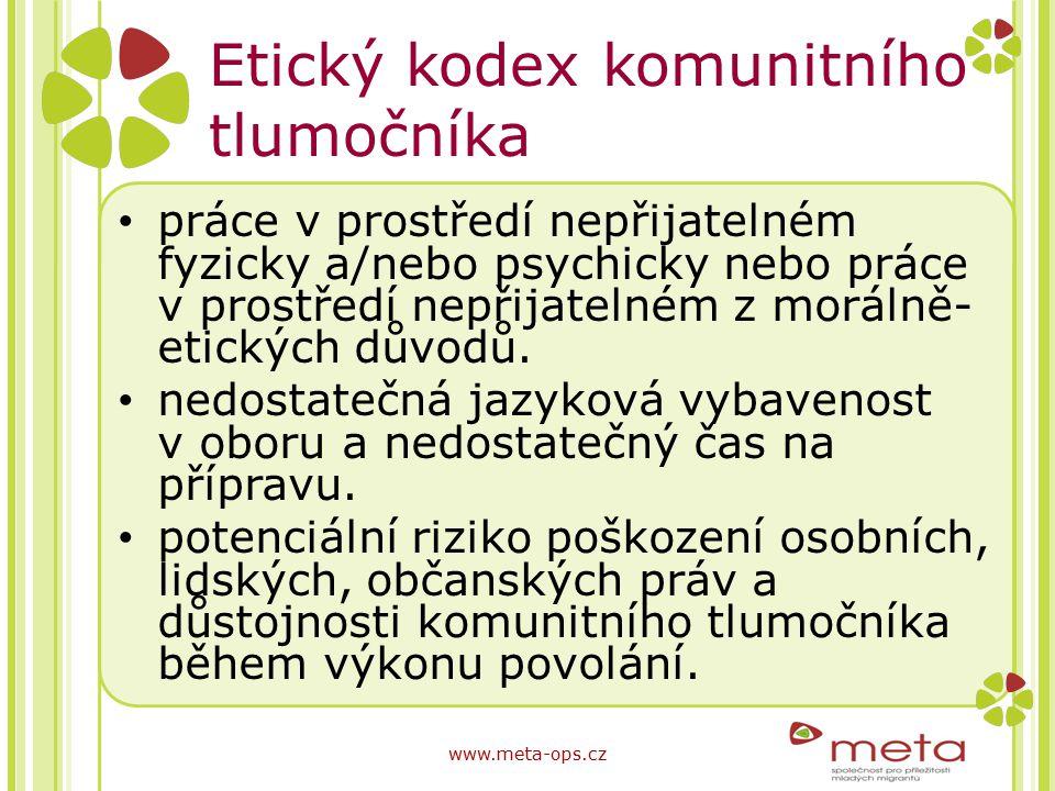 Etický kodex komunitního tlumočníka práce v prostředí nepřijatelném fyzicky a/nebo psychicky nebo práce v prostředí nepřijatelném z morálně- etických