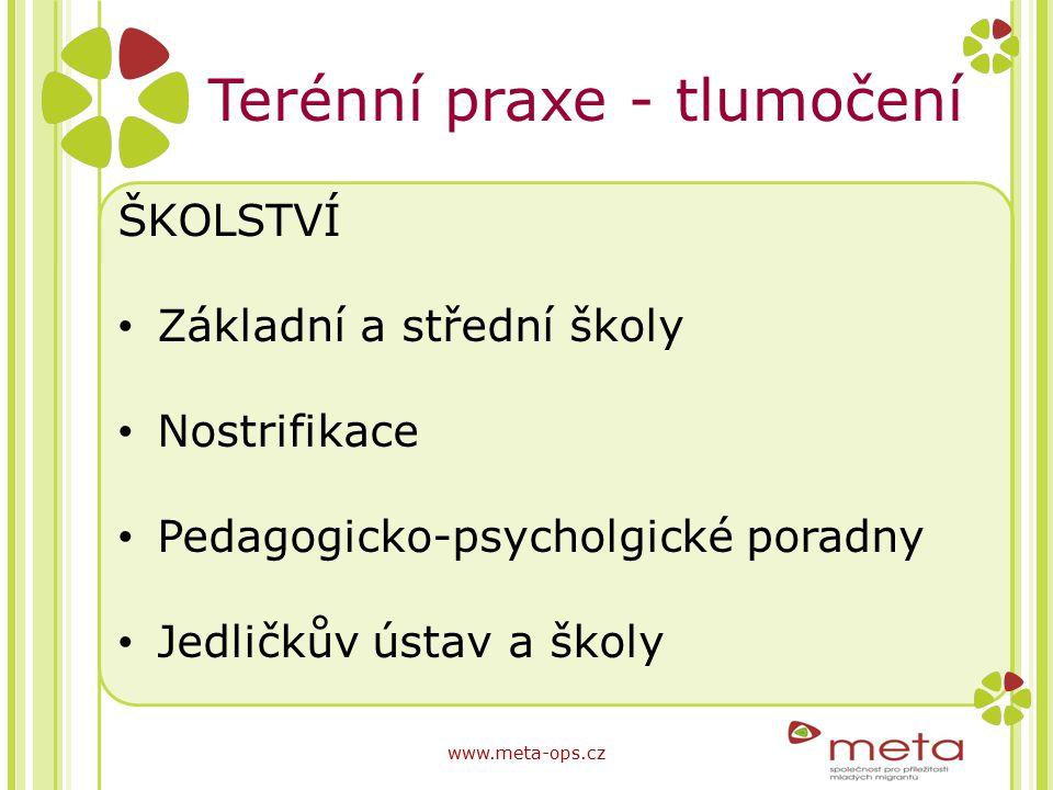 Terénní praxe - tlumočení ŠKOLSTVÍ Základní a střední školy Nostrifikace Pedagogicko-psycholgické poradny Jedličkův ústav a školy www.meta-ops.cz