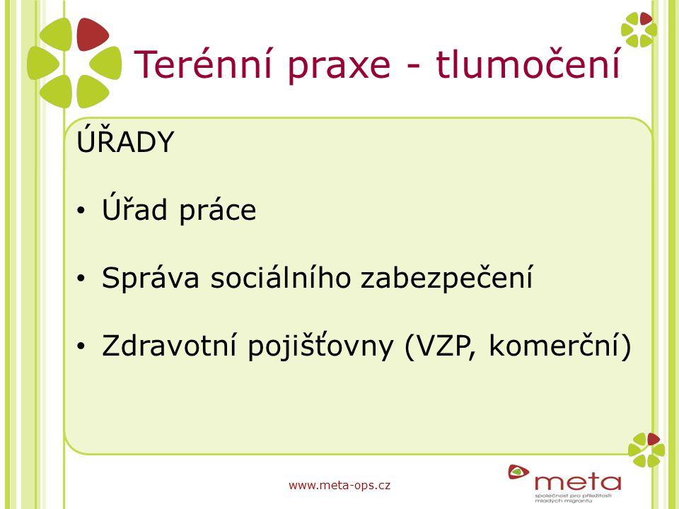Terénní praxe - tlumočení ÚŘADY Úřad práce Správa sociálního zabezpečení Zdravotní pojišťovny (VZP, komerční) www.meta-ops.cz