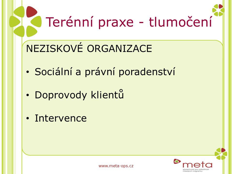 Terénní praxe - tlumočení NEZISKOVÉ ORGANIZACE Sociální a právní poradenství Doprovody klientů Intervence www.meta-ops.cz