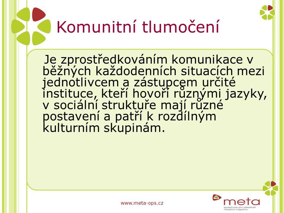 Komunitní tlumočení Je zprostředkováním komunikace v běžných každodenních situacích mezi jednotlivcem a zástupcem určité instituce, kteří hovoří různý