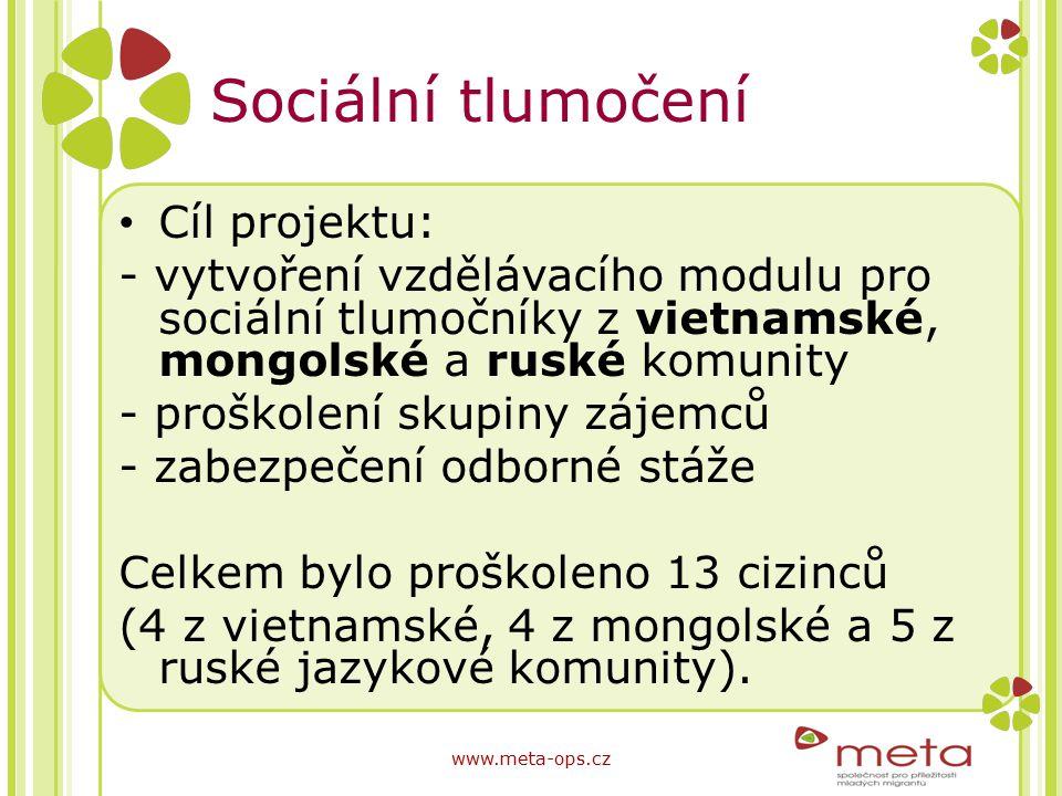 Sociální tlumočení Cíl projektu: - vytvoření vzdělávacího modulu pro sociální tlumočníky z vietnamské, mongolské a ruské komunity - proškolení skupiny