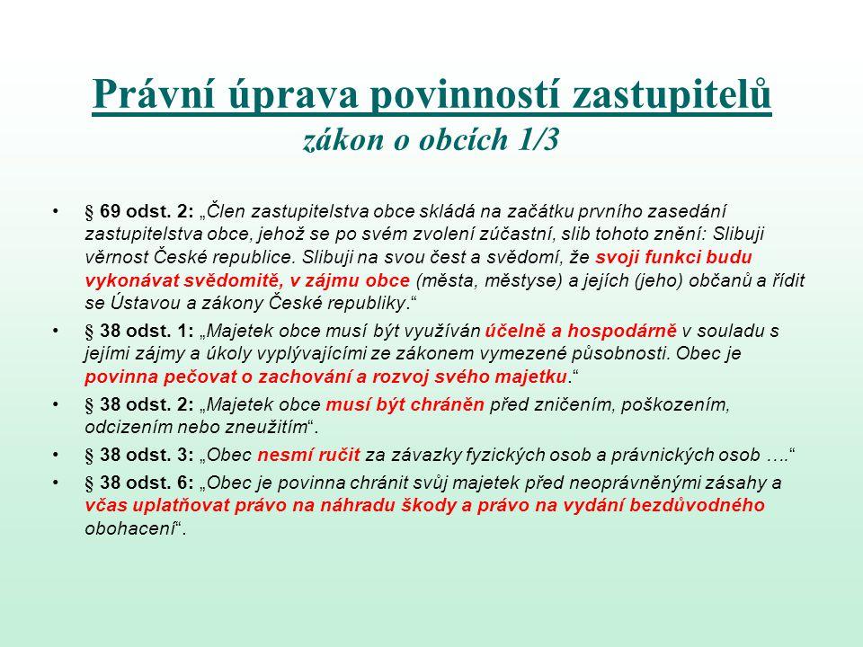 Právní úprava povinností zastupitelů zákon o obcích 2/3 § 39 odst.