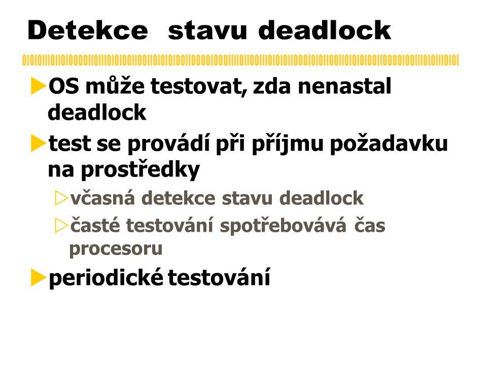 Detekce stavu deadlock  OS může testovat, zda nenastal deadlock  test se provádí při příjmu požadavku na prostředky  včasná detekce stavu deadlock  časté testování spotřebovává čas procesoru  periodické testování