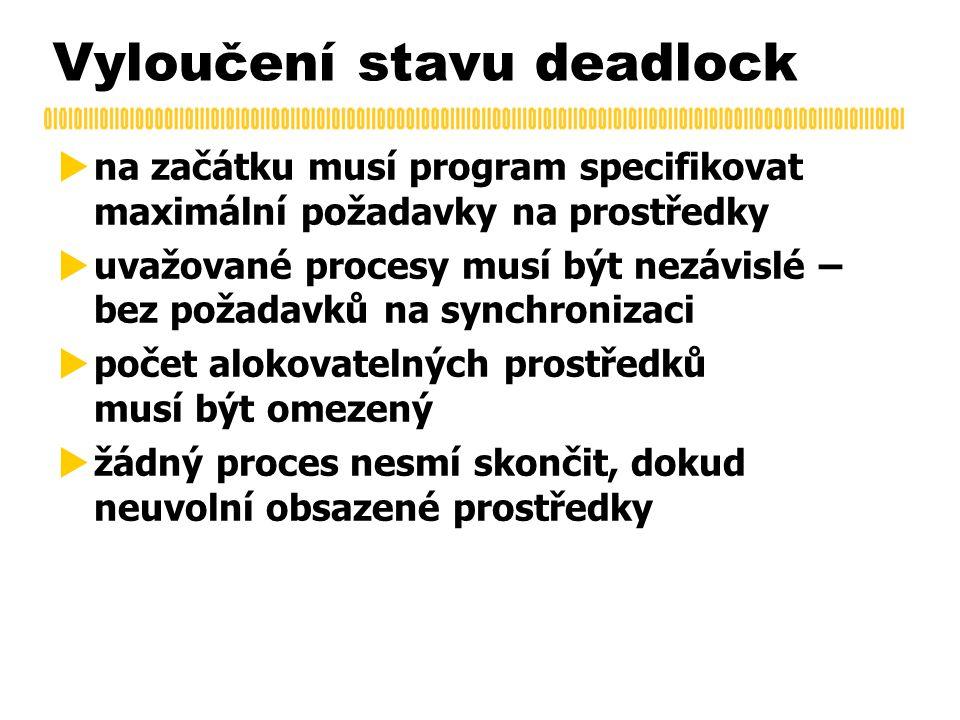 Vyloučení stavu deadlock  na začátku musí program specifikovat maximální požadavky na prostředky  uvažované procesy musí být nezávislé – bez požadavků na synchronizaci  počet alokovatelných prostředků musí být omezený  žádný proces nesmí skončit, dokud neuvolní obsazené prostředky