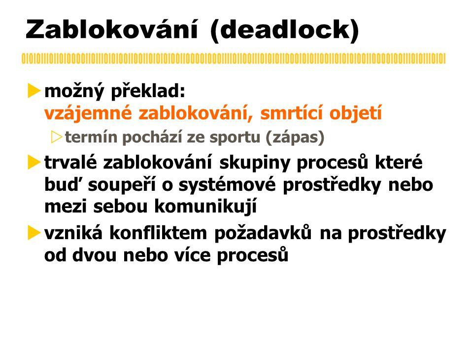Zablokování (deadlock)  možný překlad: vzájemné zablokování, smrtící objetí  termín pochází ze sportu (zápas)  trvalé zablokování skupiny procesů které buď soupeří o systémové prostředky nebo mezi sebou komunikují  vzniká konfliktem požadavků na prostředky od dvou nebo více procesů