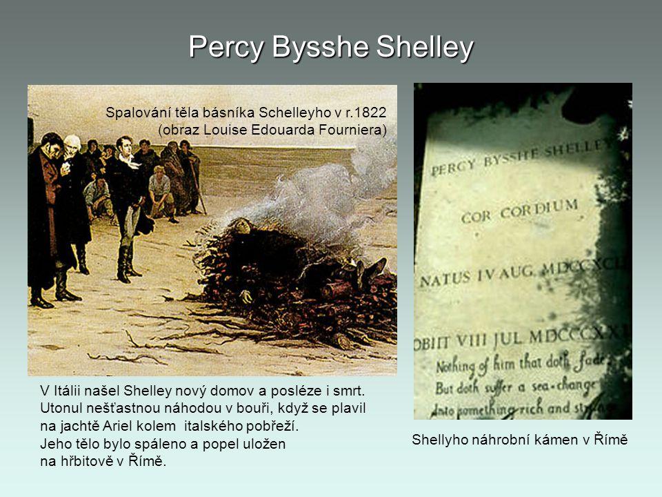 Percy Bysshe Shelley Spalování těla básníka Schelleyho v r.1822 (obraz Louise Edouarda Fourniera) Shellyho náhrobní kámen v Římě V Itálii našel Shelle