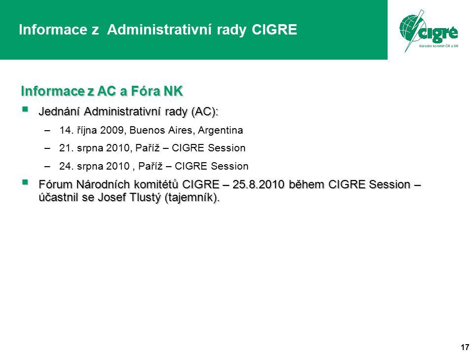17 Informace z Administrativní rady CIGRE Informace z AC a Fóra NK  Jednání Administrativní rady (AC): –14. října 2009, Buenos Aires, Argentina –21.