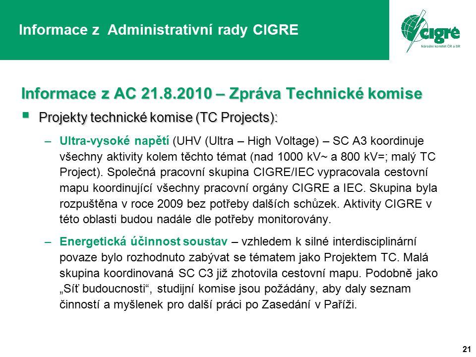 21 Informace z Administrativní rady CIGRE Informace z AC 21.8.2010 – Zpráva Technické komise  Projekty technické komise (TC Projects): –Ultra-vysoké napětí (UHV (Ultra – High Voltage) – SC A3 koordinuje všechny aktivity kolem těchto témat (nad 1000 kV~ a 800 kV=; malý TC Project).