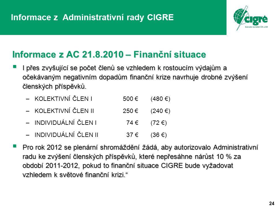 24 Informace z Administrativní rady CIGRE Informace z AC 21.8.2010 – Finanční situace  I přes zvyšující se počet členů se vzhledem k rostoucím výdajům a očekávaným negativním dopadům finanční krize navrhuje drobné zvýšení členských příspěvků.