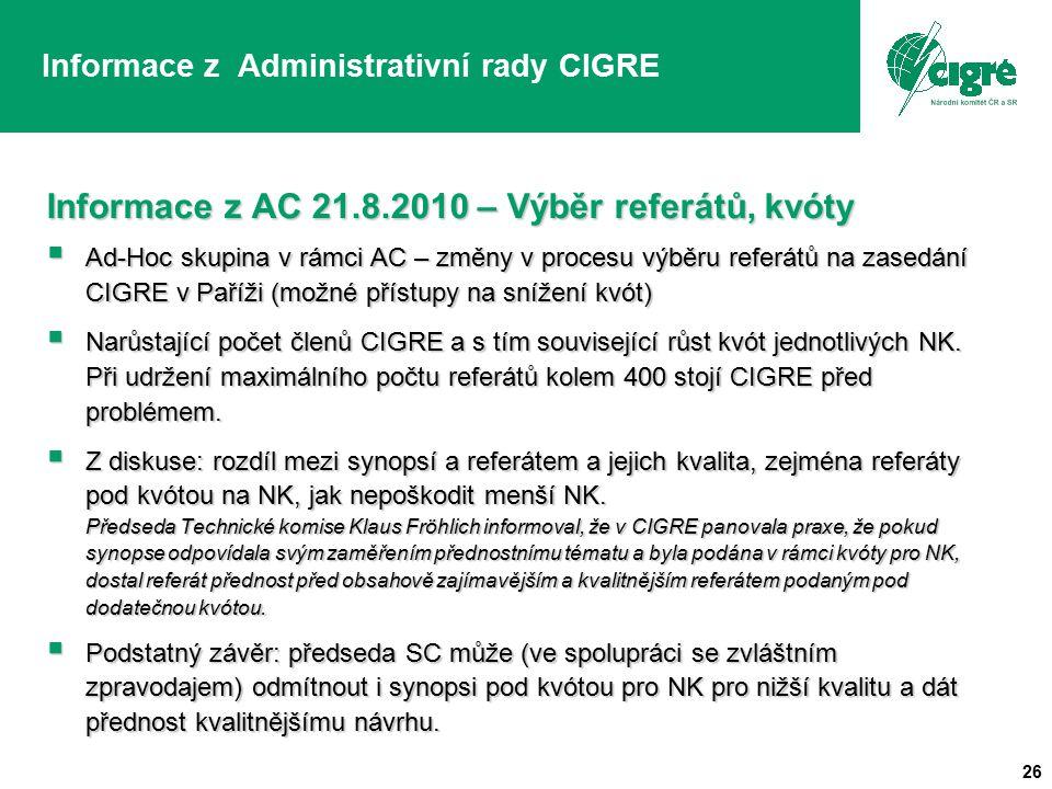 26 Informace z Administrativní rady CIGRE Informace z AC 21.8.2010 – Výběr referátů, kvóty  Ad-Hoc skupina v rámci AC – změny v procesu výběru referátů na zasedání CIGRE v Paříži (možné přístupy na snížení kvót)  Narůstající počet členů CIGRE a s tím související růst kvót jednotlivých NK.